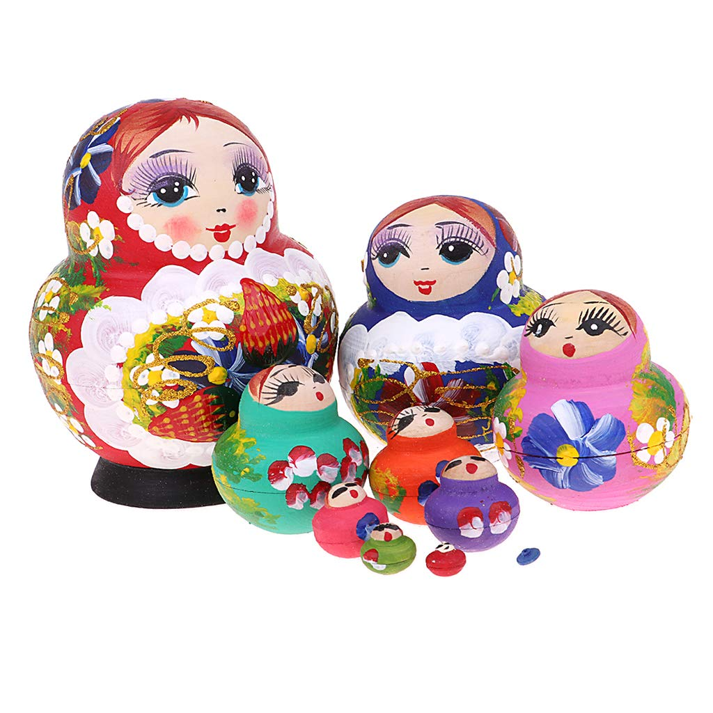 Baoblaze Colorful Russian Nesting Doll Babushka Matryoshka Stacking Dolls Set 10 Pieces Xmas Gift Christmas Decorations