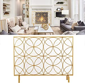 Qiilu Concise Gold Fireplace Screen, 40.6 x 9.1 x 30.7in Fire Place Fence Spark Guard Devices Household Supplies for Living Room Home Decor w/Rustic Worn Finish