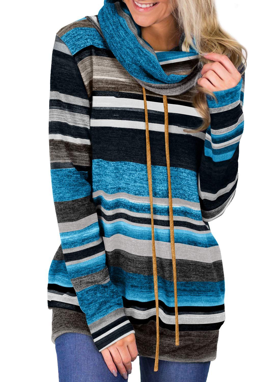 Asvivid Womens Cowl Neck Color Block Striped Tunic Sweatshirt Drawstring Fall Winter Pullover Tops Plus Size 2X Multi4