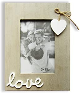 In natural 4x6 Picture Vintage Wood Frames Love Sign Bowknot Sweet Heart Tabletop Rustic Photo Frame for Couple,Bride,Boyfriend,Family Member
