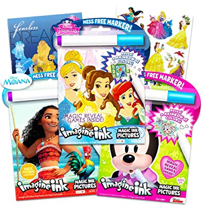 Disney Princess Magic Ink Coloring Book Set -- Bundle of 3 Imagine Ink Books for Girls Kids Toddlers Featuring Disney Princess, Moana, and Minnie Mouse with Invisible Ink Pens and Stickers: Toys & Games