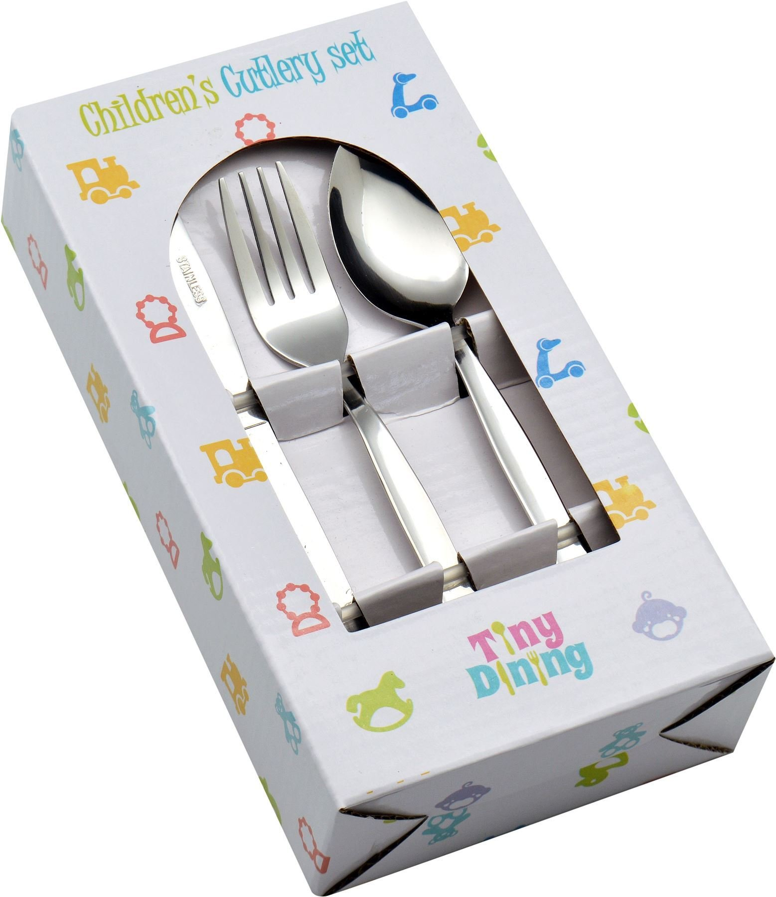 Tiny Dining 36 Piece Kids Infants Childrens Junior Cutlery Set (12 Small Table Knives, 12 Small Table Forks, 12 Small Dessert Spoons) - Ideal for home, school or lunchboxes by Tiny Dining
