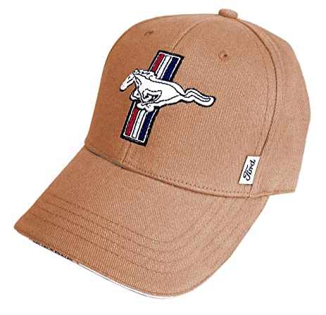 Ford Mustang Hat Gt Tan Twill Embroidered Adjustable Baseball Cap Racing Decal Included