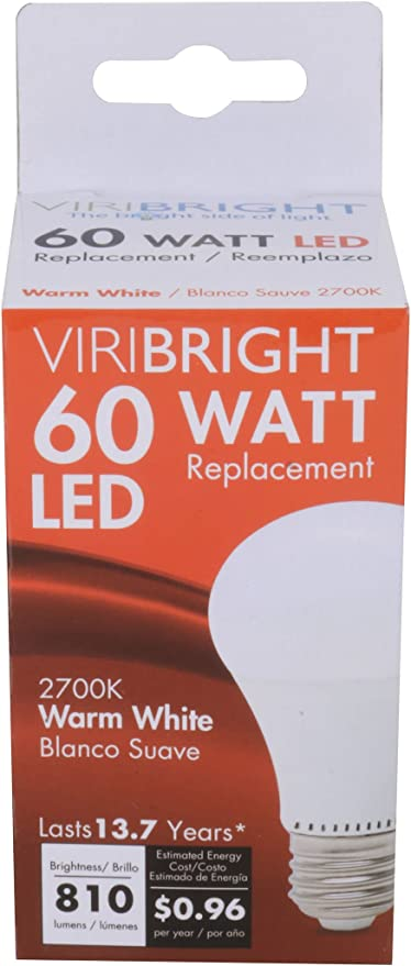60 Watt Replacement Dimmable A19 LED light Bulb E26 Base 48 Pack Warm White 90+ CRI Viribright Lighting 2893