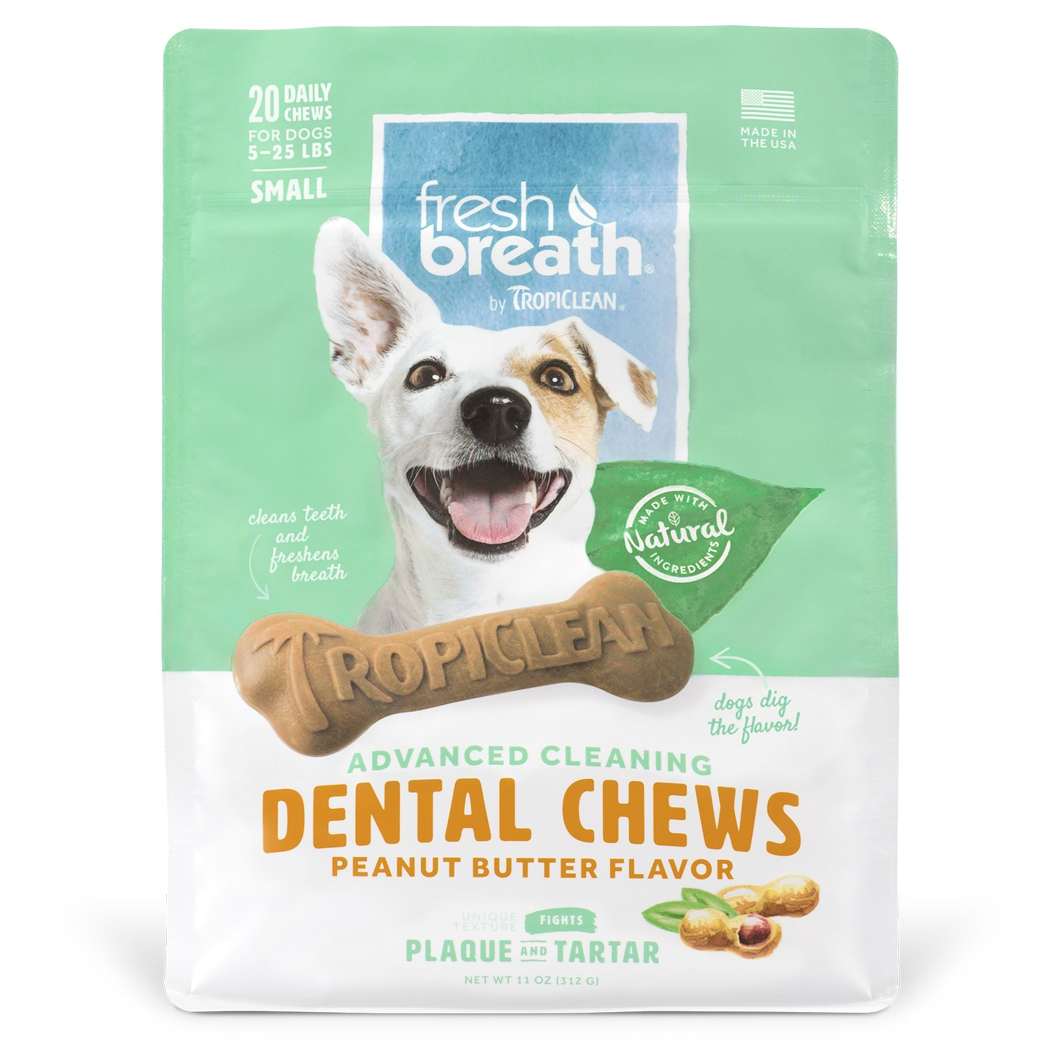 TropiClean Fresh Breath Peanut Butter Flavored Dental Chews, 20 Pack, Small COSCY - pallet ordering FBPBCW-SM