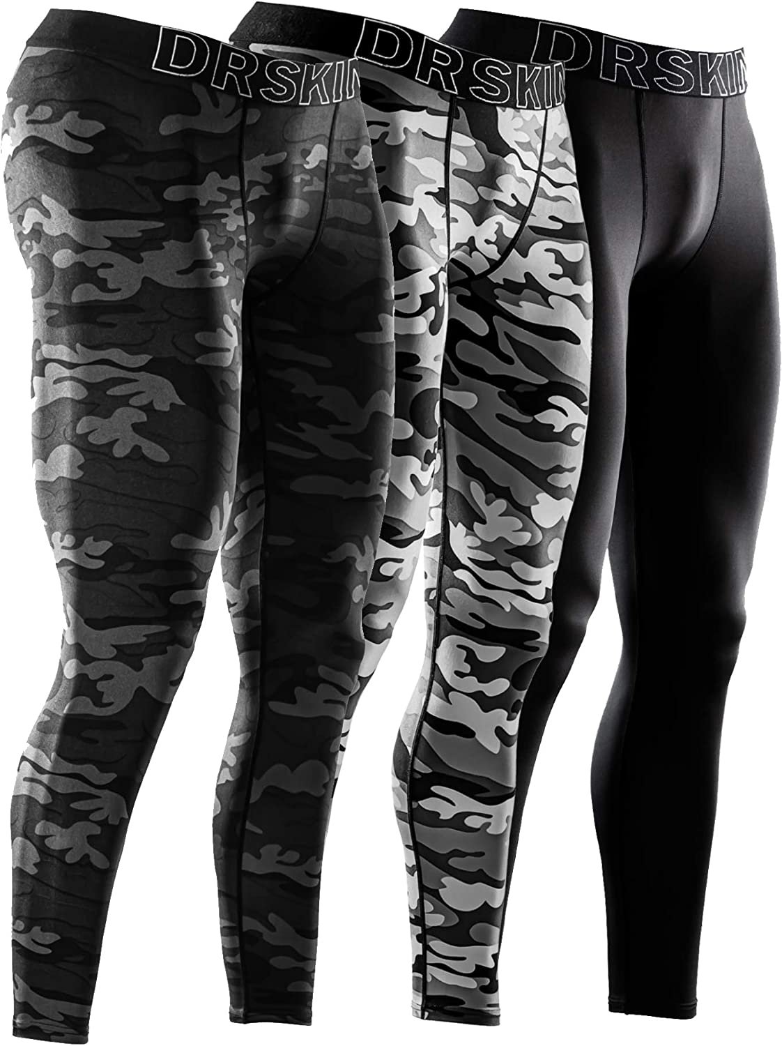 DRSKIN 1, 2 or 3 Pack Men's Compression Pants Dry Sports Baselayer Running Workout Tights Leggings Yoga Thermal : Clothing