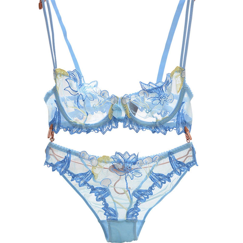 1b406f1d1cb Amazon.com  Baqijian Flowers Lace Lingerie Set Transparent Underwear Women  Sexy Bra Panty Black Bow  Clothing