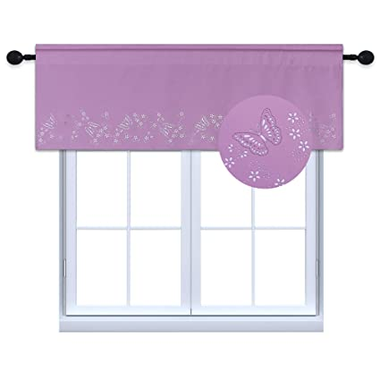 HOLKING Plum Cut Out Valance for Bedroom with Romantic Fashionable Girls  Butterfly Pattern Blackout Curtain Window Valance for Boudior ,1 Panel
