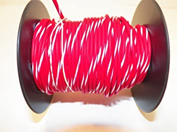 Amazon.com: Red/White Striped, 18 GA AWG GXL Wire, 100\' Spool, For ...