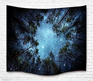 Tapestry Wall Hanging Tapestry Galaxy Tapestry Milky Way Tapestry Starry Tapestry Forest Starry Sky Tapestry Tree Tapestry Bedspread Throw Blanket Home Room Wall Decor (10#forest Sky, XL70.8