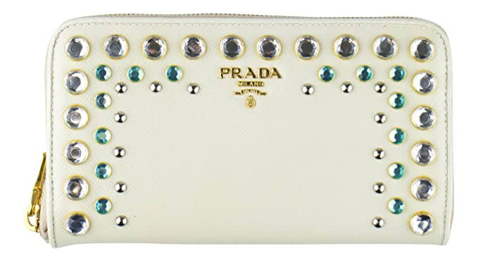 15a4db1b4a3f PRADA Ivory Saffiano Leather Rhinestone Stud Embellised Wallet at ...