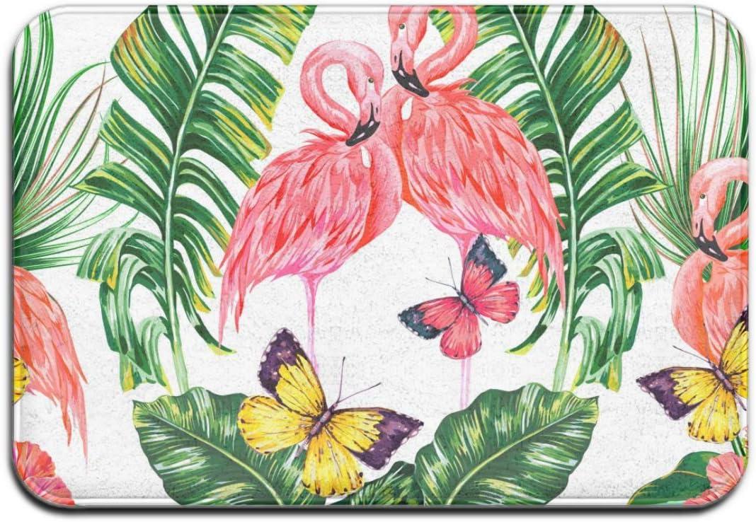 N/A tropicales hojas de palma, flores exóticas y flamencos rosados, lavable para interior/exterior, felpudo de entrada superabsorbente, alfombra para puerta delantera, 40 x 60 cm
