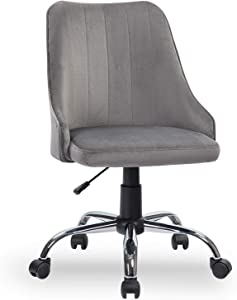REFICCER Home Office Chair, Velvet Computer Desk Task Chair Adjustable Swivel Soft Comfortable Executive Chair for Home Office, Bedroom, Living Room Mid-Back Grey