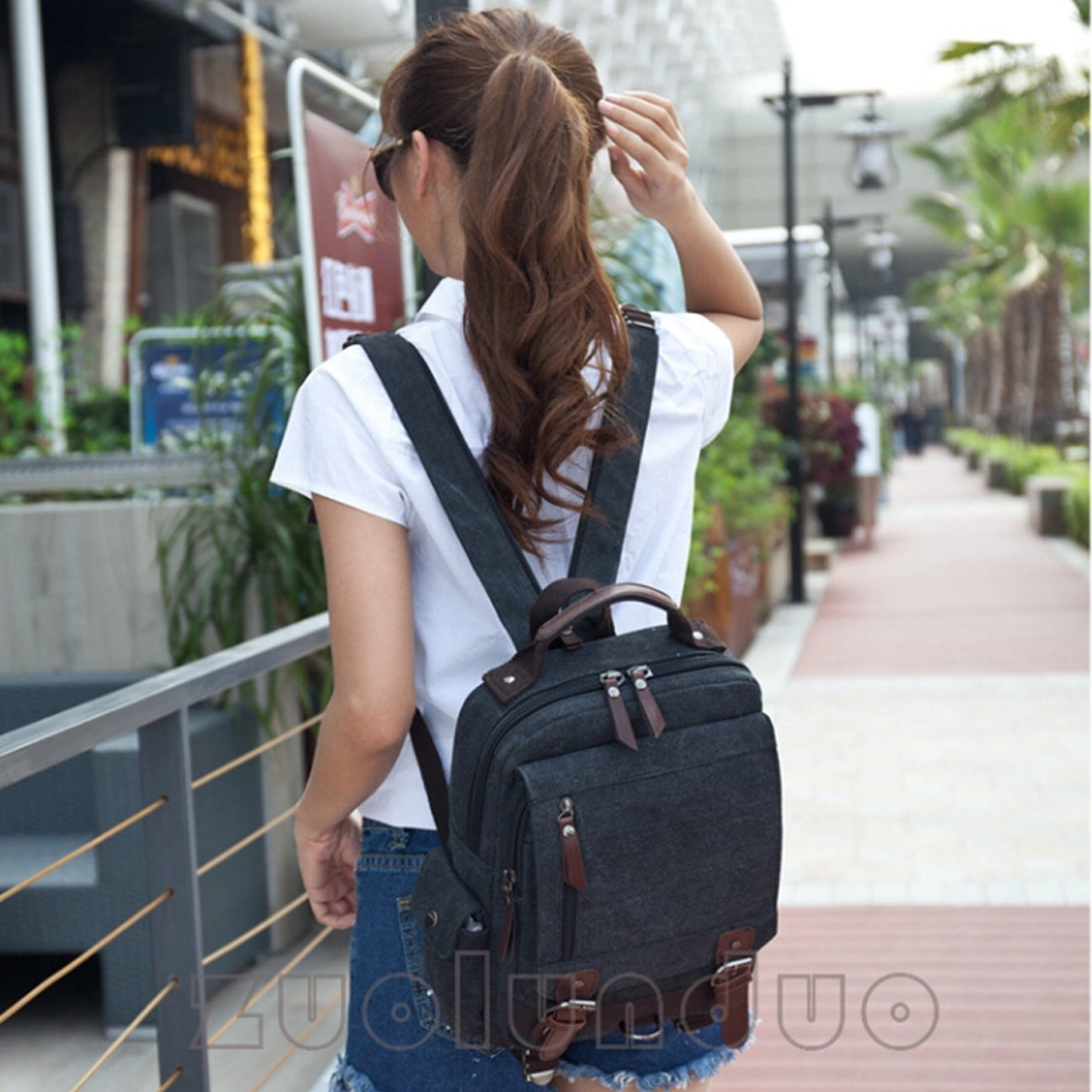 Unisex Canvas Cross Body Messenger Bag Sling Bag Backpack Shoulder Bag Travel Rucksack For Men and Women Queenie 8596 Sling Bag Grey