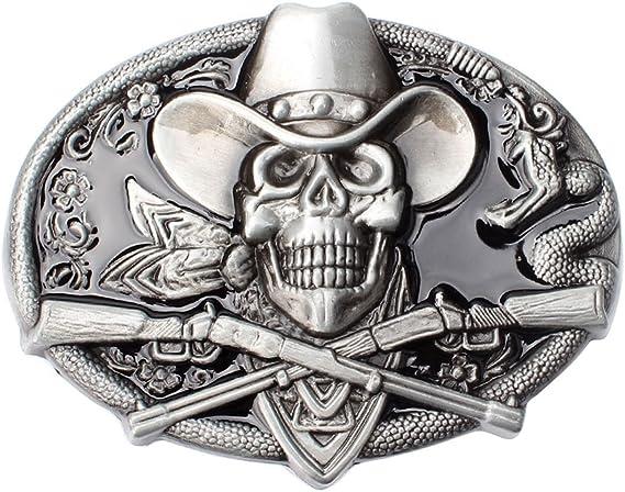 SK-17 Vintage Men/'s Belt Buckle in Skull Pirates for Native American Cowboy