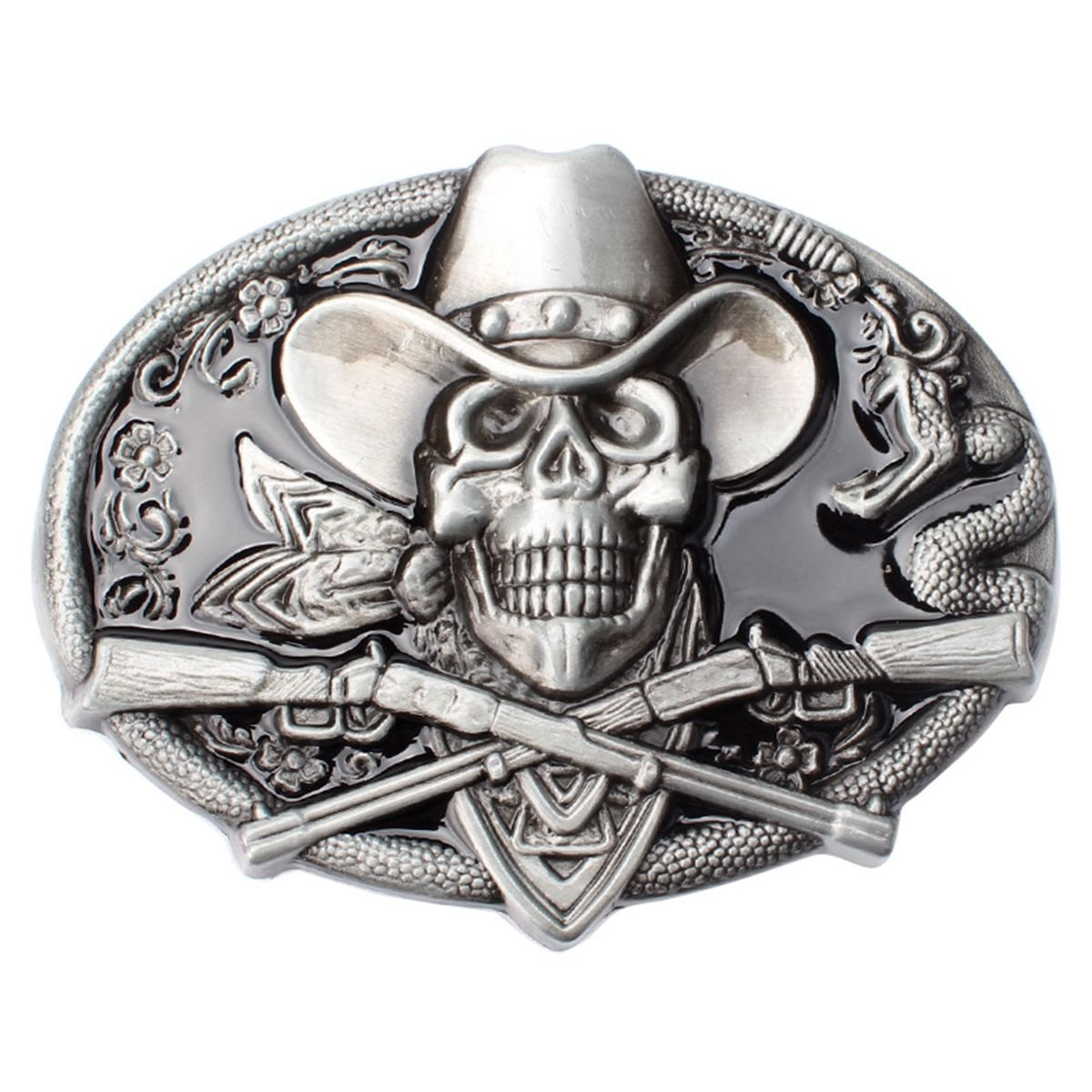 Vintage Pirate Skull Belt Buckle Western Cowboy Native American Motorcyclist (SK-17) SK-16