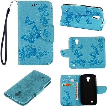 tinyue® Samsung Galaxy S4 Mini (i9190) Funda, Cubierta de Billetera de Cuero PU Tapa abatible Funda, Mariposa Caja de teléfono en Relieve Funda para Samsung Galaxy S4 Mini (i9190), Azul: Amazon.es: Electrónica