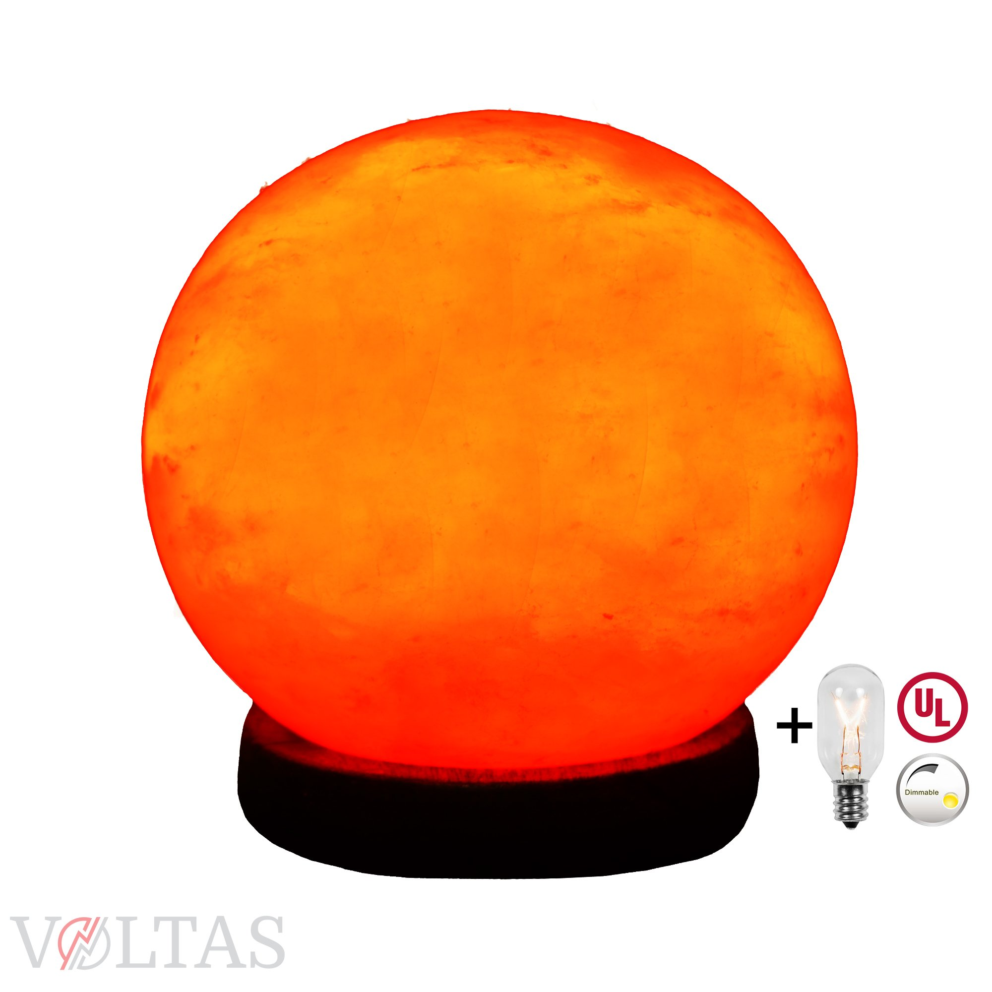 Voltas Salt Lamp Globe is carved out of Premium Salt Crystal, comes with a Dimmer control switch, 6ft UL listed cord and two 15W bulbs one for the Globe lamp and one as a FREE spare replacement.