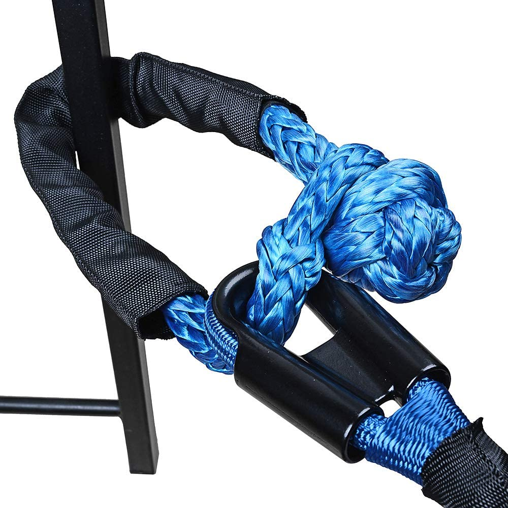 38,000LBs Max Breaking, WLL 15,000 LBs Astra Depots 2X RED and 2X Blue 1//2 Soft Shackle Rope Synthetic with Protective Sleeve