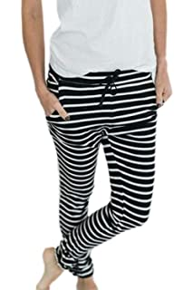 Pantalon De Loisirs Femme Elégante Fashion Rayures Longue Pantalons  Décontracté Confortable Taille Élastique avec… 4027f695bf60