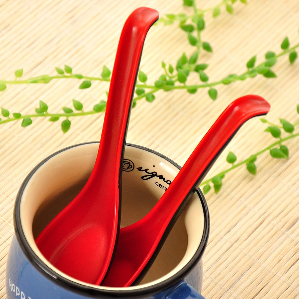 Dealglad New Chinese Ladle Style Red and Black Melamine Spoon Long Handle Soup Spoon (20Pcs) by Dealglad (Image #8)