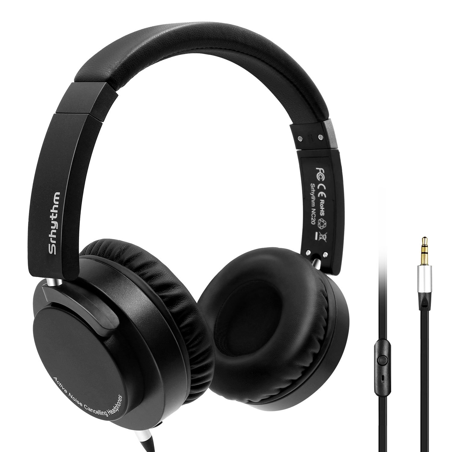 Active Noise Cancelling Headphones, Srhythm Wired On-Ear Headset with Microphone, Hi-Fi Stereo Deep Bass Foldable and Lightweight Headphones, Multi-angle Rotation Up To 180 Degrees With Carrying Bag by Srhythm