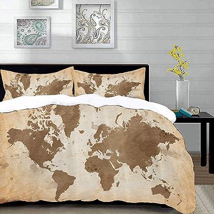 parure de lit adulte,housse de couette,Carte du monde ...