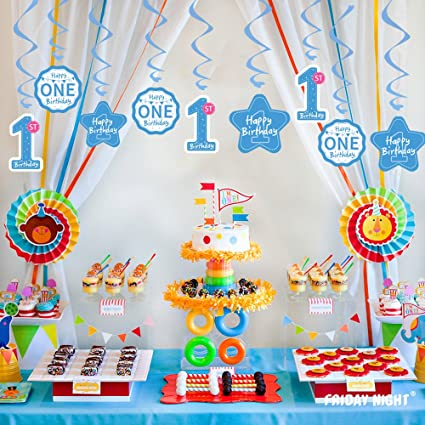 Amazoncom 1st Birthday Party Swirl Hanging Decorations kit