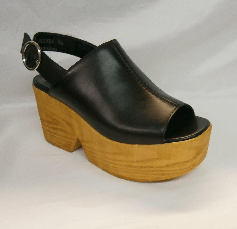 Cult sandalo zeppa legno donna CLE102904 Marylin sandal pelle nera:  Amazon.it: Scarpe e borse