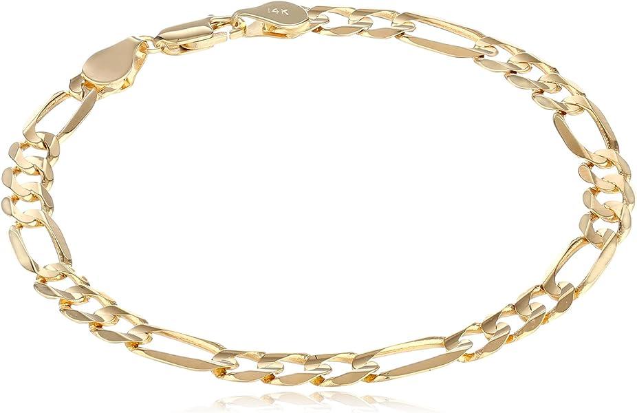 Amazon.com  Men s 14k Yellow Gold 6.1mm Figaro Bracelet, 8.25 ... 2c2cf3c7f250