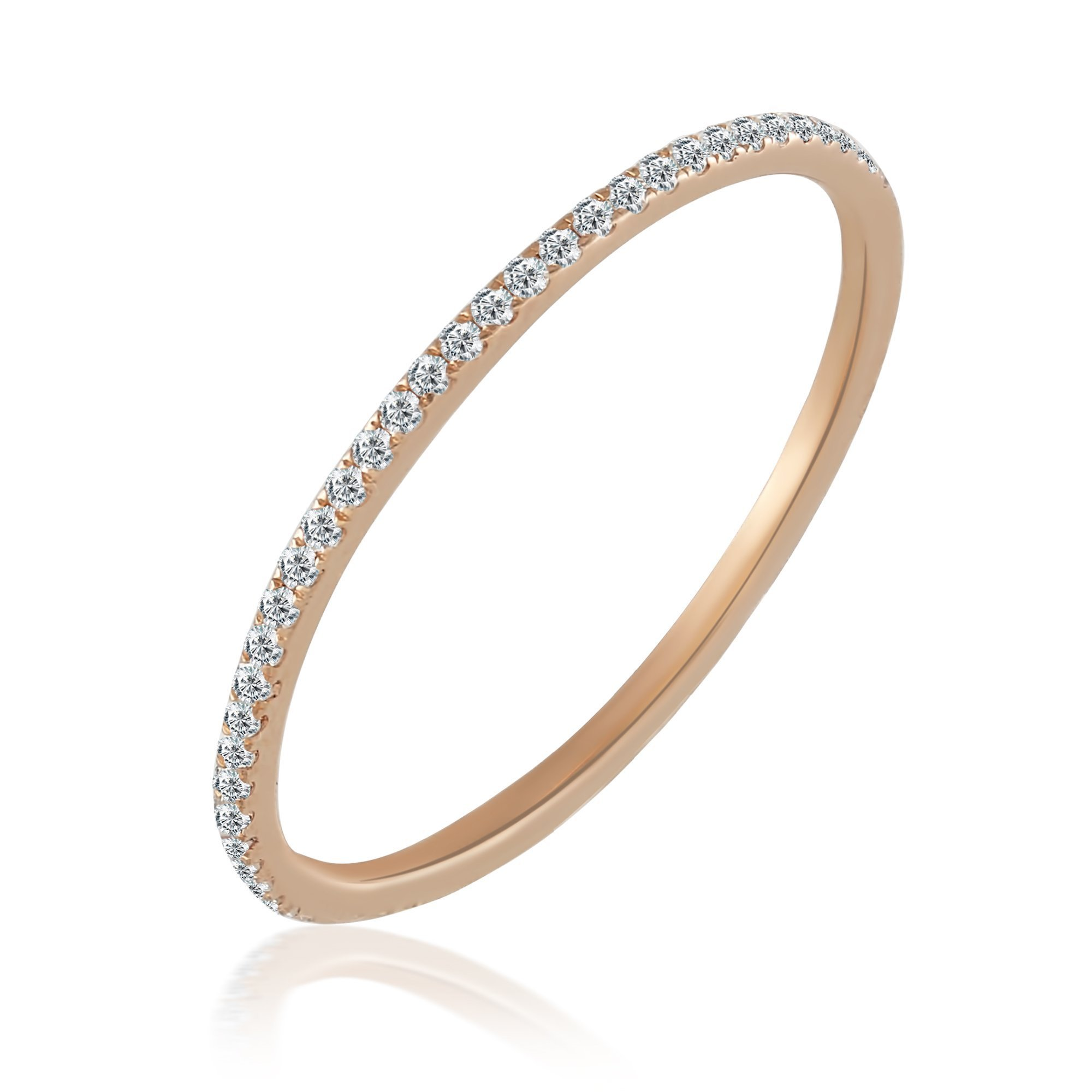 Balluccitoosi Eternity Ring -14K Rose Gold Diamond Band Stackable Matching Band - stacking ring stackable diamond engagement rings-0.20 tcw Diamond Ladies Dainty Anniversary Wedding Band-Size 6
