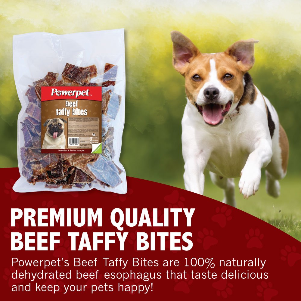 Powerpet: Beef Taffy Bites - Natural Dog Chew - 8 OZ Pack - Helps Improve Dental Hygiene - 100% Natural & Highly Digestible - Protein with Low Fat - Beef Jerky Dog Treat - Made from Beef Esophagus by Powerpet (Image #3)
