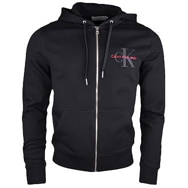 64fd00bb76c Calvin Klein Sweat zippé à Capuche Noir pour Homme  Amazon.fr ...
