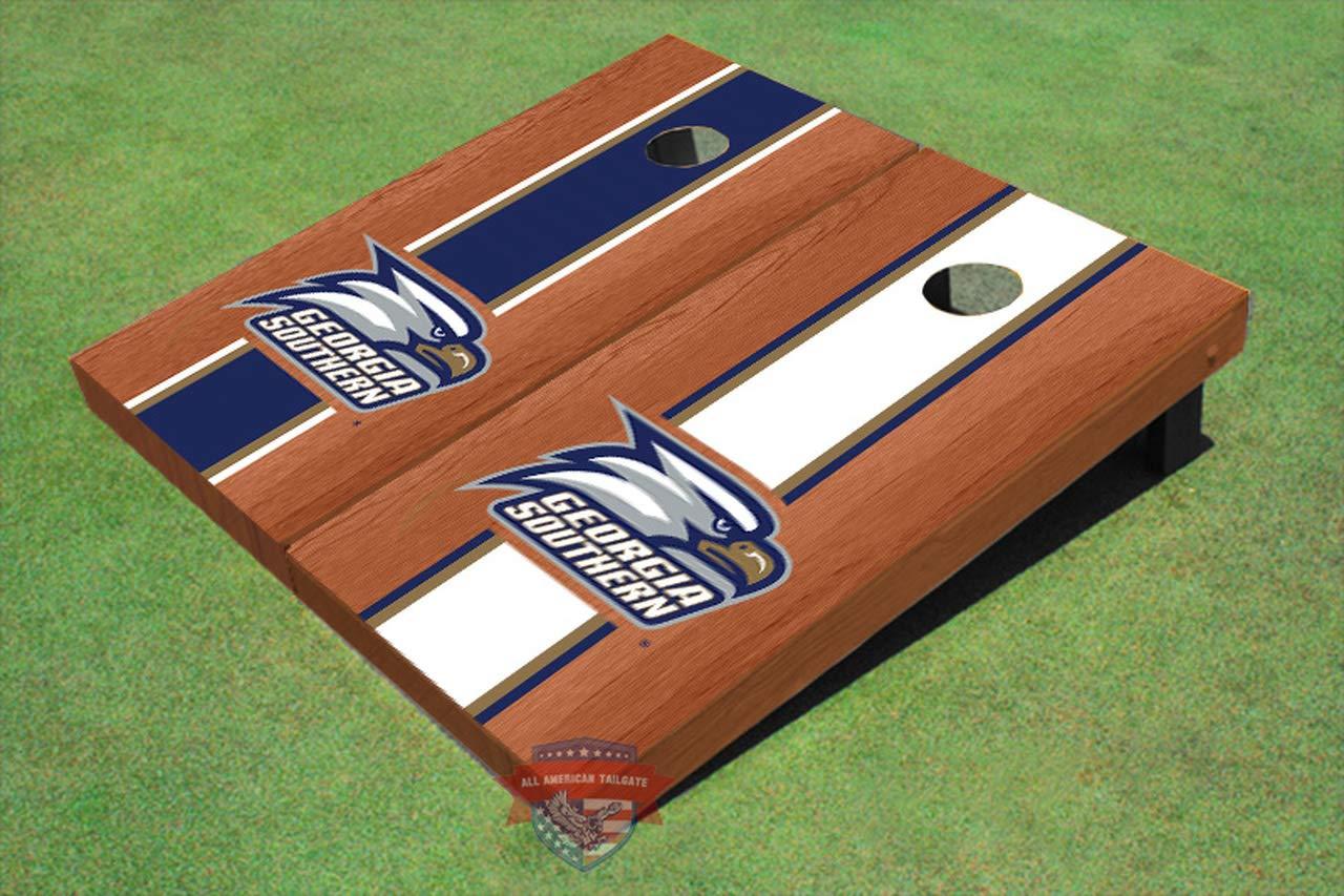 Georgia Southern Eagles ローズウッド交互ストライプコーンホールボード - サイズとアクセサリーを選択 - ボード2枚、バッグ8枚など  A. 2x3 Boards - Corn Filled Bags
