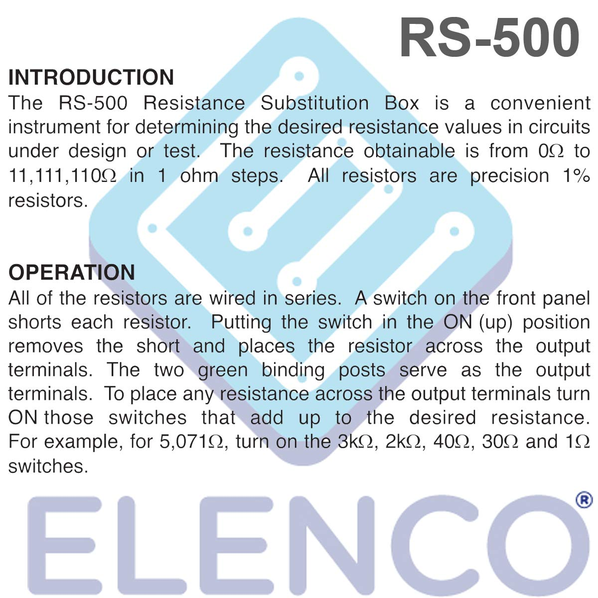 Elenco Rs 500 Resistance Substitution Box Toys Games Resistors In Series And Parallel Until The Circuit Is