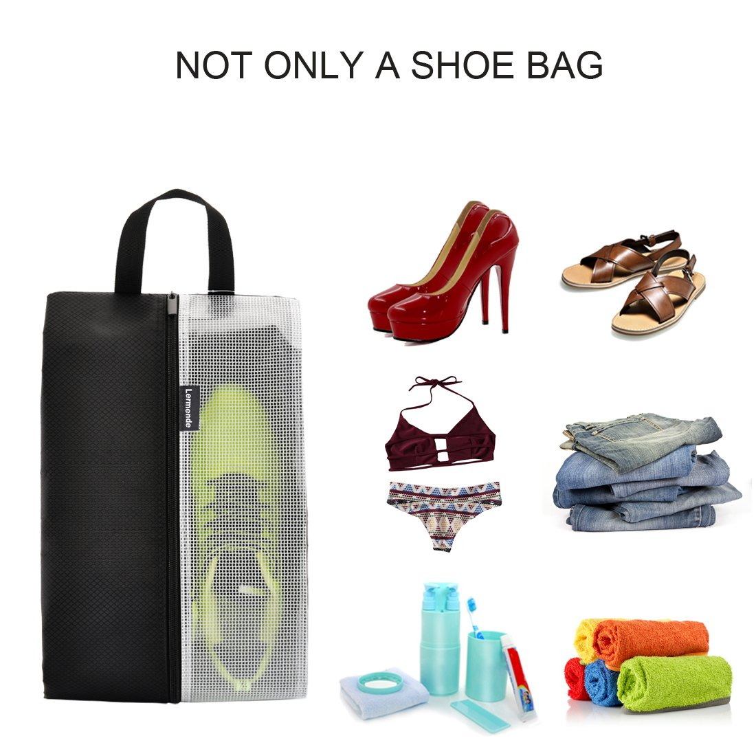 Lermende Travel Shoe Bags Waterproof Nylon Organizer Storage Tote Pouch 5pcs by Lermende (Image #4)