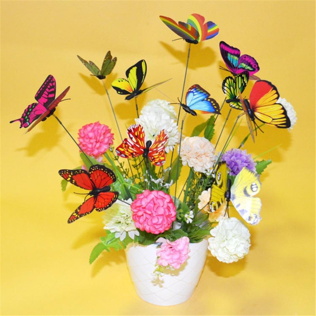 Hunpta 10 Pcs Colourful Garden Butterflies On Sticks Miniature Garden Decoration (random)