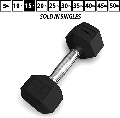 Synergee Rubber Encased Hex Dumbbells Chrome Handle Sold Individually All Purpose Weight