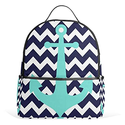 b30aaccce6 free shipping JSTEL Anchors Chevron School Backpack 4th 5th 6th Grade for Boys  Teen Girls Kids