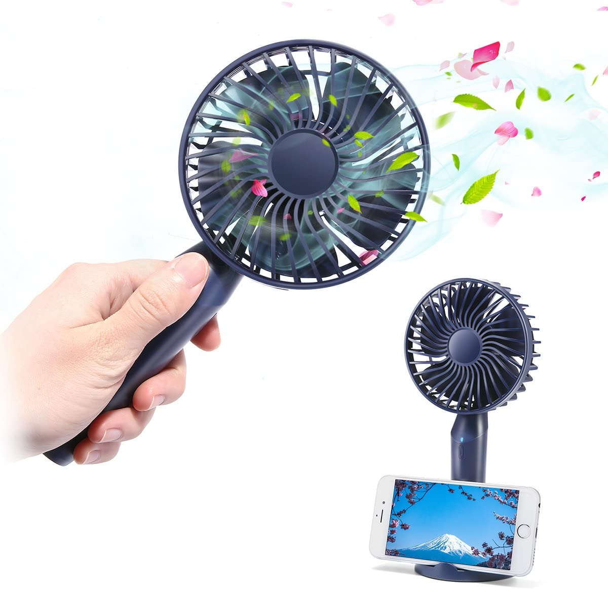 2000 mAh USB Rechargeable Portable Silent Desktop Handheld Fan for Outdoor Travel Camping
