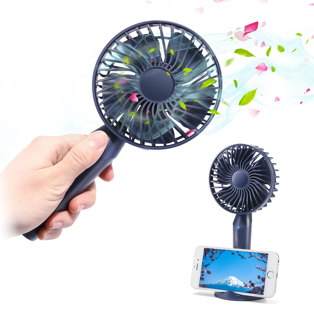 MECO ELEVERDE USB Desk Fan 6'' Portable Personal Fan Small Table Fan Cooling Fan with Handle USB Powered Great for Office, Travel, Camping. Fishing, Car, Gym, Outdoor, Kitchen