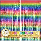 BEISHIDA 2 Pack Dark Rainbow Foil Fringe Curtain, Assort Color Tinsel Metallic Curtains Photo Backdrop for Wedding Engagement