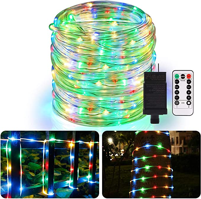 Amazon Com Aloveco Rope Lights Outdoor 66ft 336 Led String Lights Plug In Connectable Remote Dimmable Waterproof Indoor Outdoor String Lights For Christmas Party Tree Patio Garden Deck Fence Decor Multicolor Home Improvement