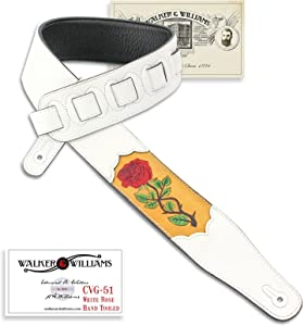 Walker & Williams CVG-51 White Leather Strap Hand Tooled White Rose Design