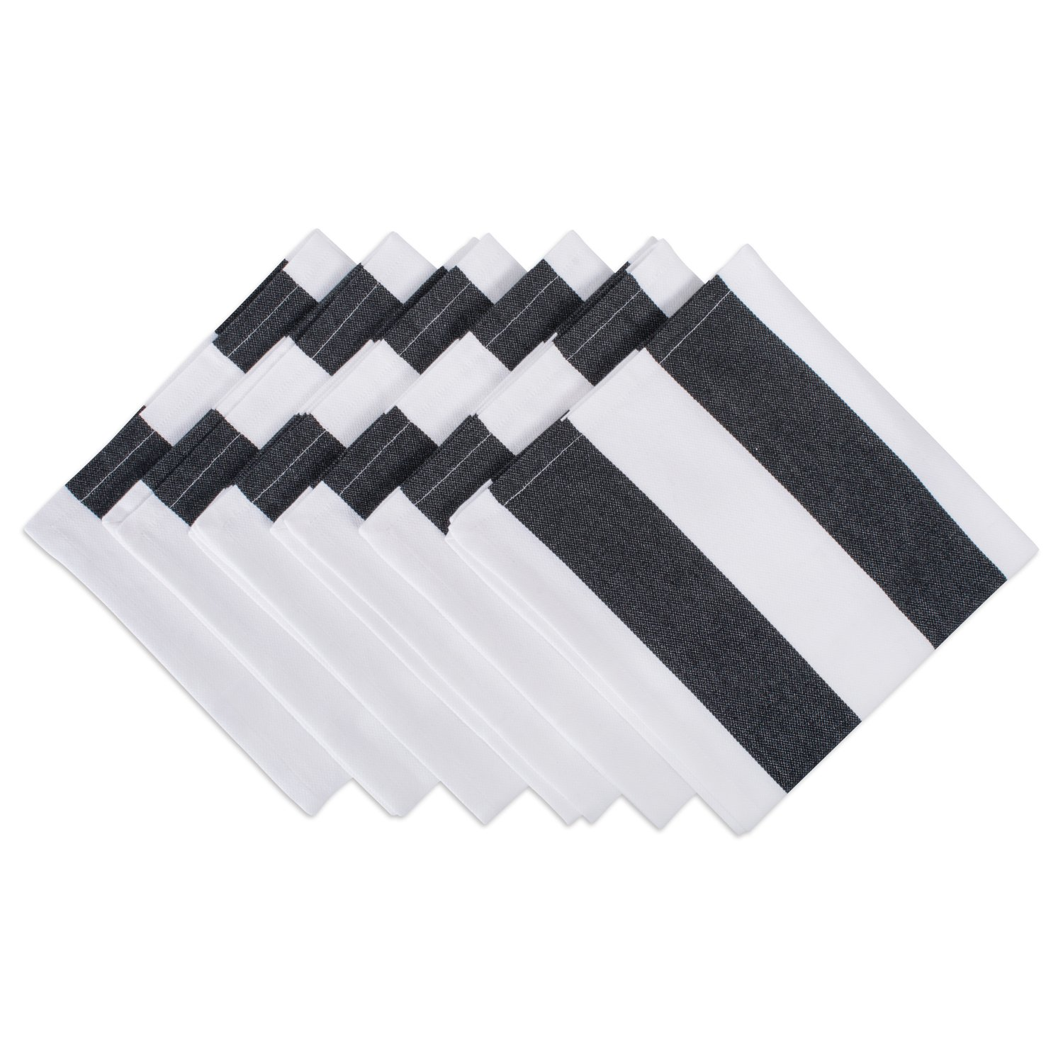DII Oversized 20x20 Cotton Napkin, Pack of 6, Black & White Cabana Stripe - Perfect for Halloween, Dinner Parties, BBQs and Everyday Use