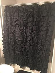Amazon Waterfall Ruffled Fabric Shower Curtain