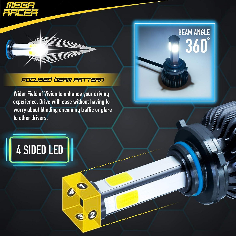 Pack of 2 60W 6000K 10000 Lumens Super Bright White COB IP68 Waterproof Mega Racer 4 Sided 9005//H10//HB3 LED Headlight Bulbs for High Beam//Low Beam//Fog Lights