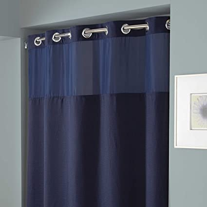 Amazon Com Hookless Hang In Seconds Waffle Fabric Shower Curtain