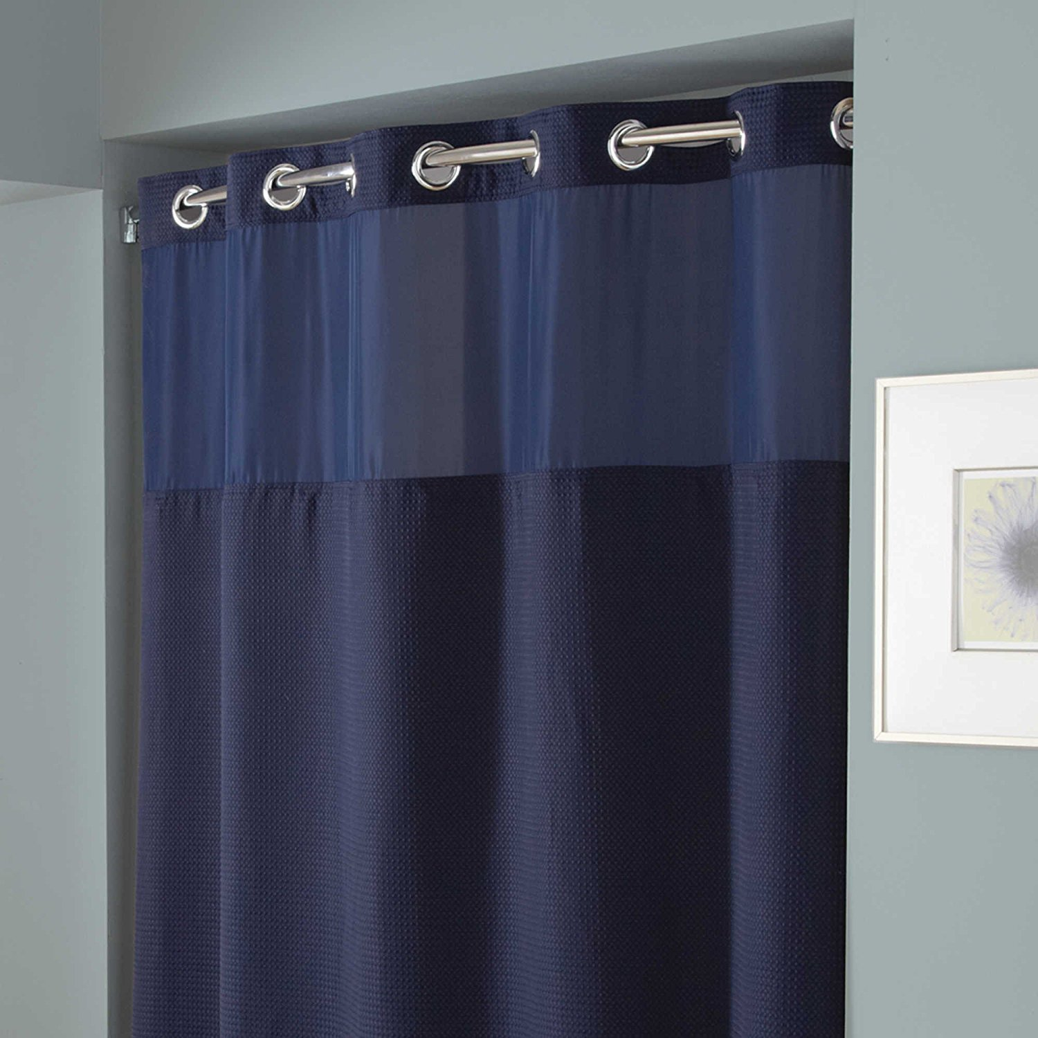 Hookless Hang in Seconds Waffle Fabric Shower Curtain (71 x 74, Navy)