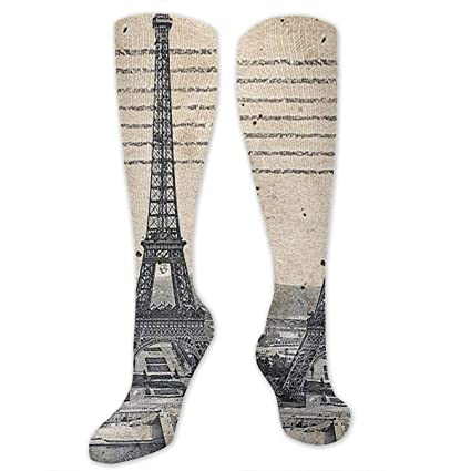 ea0f25e9dba53f Amazon.com: RonHaoo Eiffel Tower Paris Fashion Thigh High Stockings,Men &  Women Compression Stocking Athletic Socks,Tube Dresses Knee High Socks  Cosplay ...
